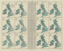 British Isles. Monthly rainfall & air temperature. 61x55cm. STANFORD 1904 map